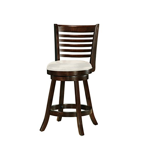 CorLiving DWG-914-B Woodgrove Cappuccino Stained Swivel Counter Height Barstool with Leatherette Seat, 24 Seat Height, Set of 2