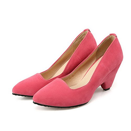 VogueZone009 Women's Frosted Pointed Closed Toe High Heels Pull On Solid Pumps-Shoes Pink pP2mWrLuT