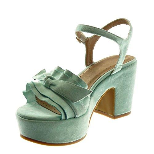 Lanière Cheville Chaussure Plateforme 8 Haut Bloc Noeud Sandale Talon Angkorly Volants cm Mode Escarpin Turquoise 5 Femme Boucle à cyIqp1X