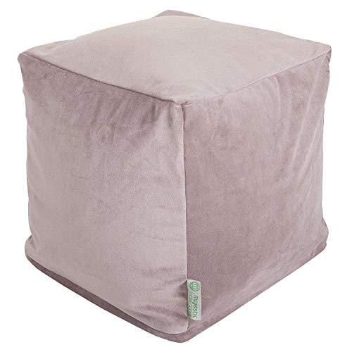 (Majestic Home Goods Steel Velvet Indoor/Outdoor Bean Bag Ottoman Pouf Cube 17