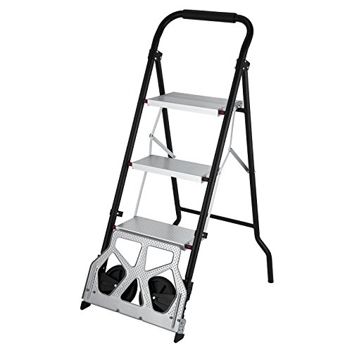 Ladder Cart - OrangeA 3-Steps Ladder Cart 2-in-1 Convertible Step Ladder Folding Hand Truck with Trolley