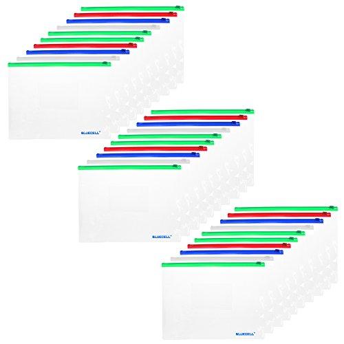 BCP 30pcs Clear Color Zip Up PVC A5 Paper Document File Bill Zipper Bag Pencil Pouch by BCP