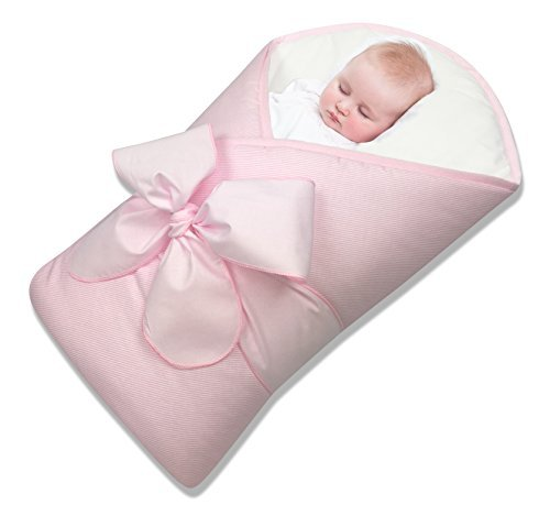 Baby Wrap – Swaddle – Baby Blanket - Featherlight - Neck and Back Support – 100% Cotton – Hypoallergenic – Beautiful packaging and bow included – Newborns 0-4 months - Pink