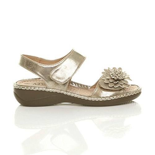 Ajvani Womens Ladies Low Wedge Heel Hook & Loop Strap Slingback Flower Comfort Leather Insole Sandals Shoes Size Gold UpMYK