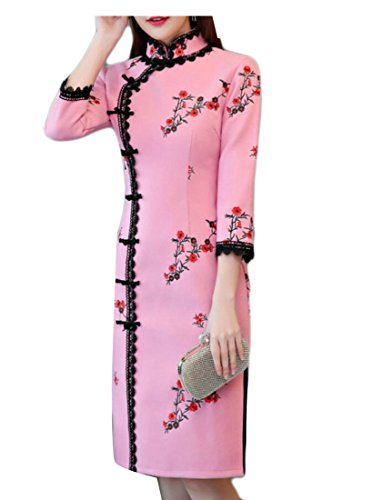 Jaycargogo Broderie Cru Laine Florale Manches 3/4 Femmes Mélange Robe Chinoise Qipao 2