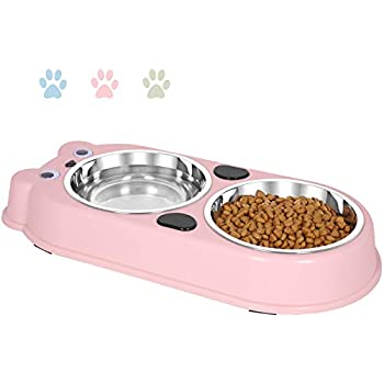 UPSKY Double Dog Cat Bowls Double Premium Stainless Steel Pet Bowls with Cute Modeling Pet Food Water Feeder (Pink)