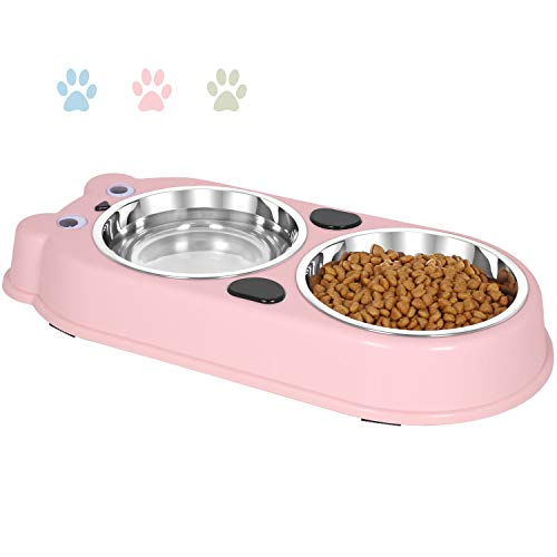(UPSKY Double Dog Cat Bowls Double Premium Stainless Steel Pet Bowls with Cute Modeling Pet Food Water Feeder,)