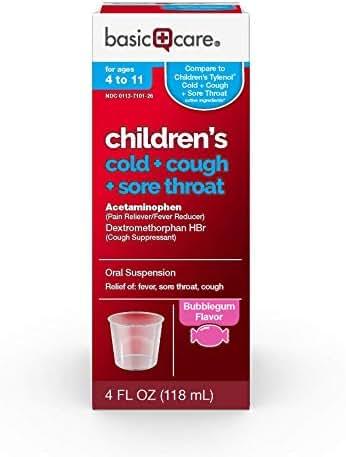 Basic Care Children's Cold, Cough & Sore Throat Oral Suspension, Bubblegum Flavor, 4 Fluid Ounce