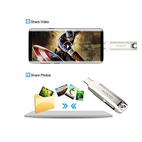 Flash Drive USB Type C Both 3.1 Tech - 2 in 1 Dual Drive Memory Stick High Speed OTG for Android Smartphone Computer, MacBook, Chromebook Pixel - 128GB by ROKHY (Image #4)