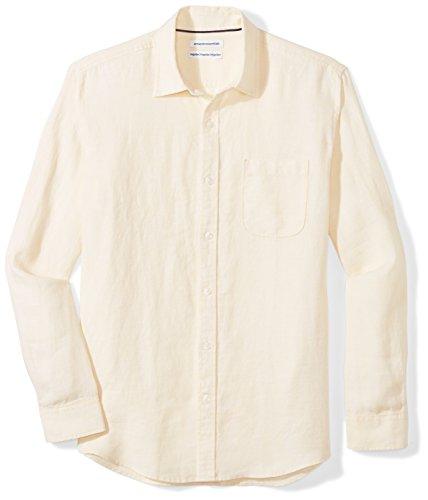 Amazon Essentials Men's Regular-Fit Long-Sleeve Linen Shirt, yellow, XX-Large