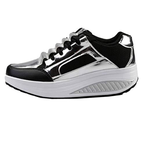 Casual Da Creepers Autunno Scarpe Piattaforma Sneakers Sportive On Donna Mocassini Argento Slip Passeggio v6qzwO