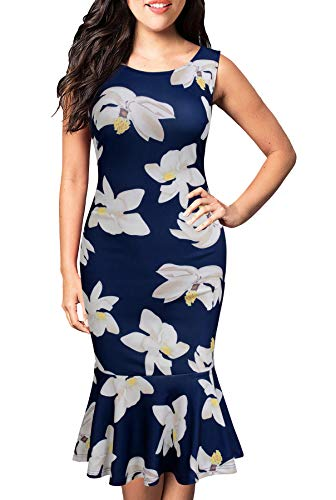 FORTRIC Women Sleeveless Fishtail Floral Summer Work Bodycon Party Causal Dress (X-Large, Blue and Apricot)