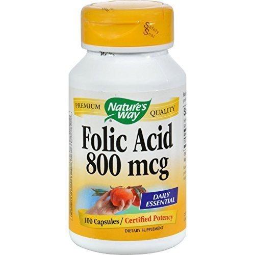 Natures Way Folic Acid 800 mcg 100 capsules. Pack of 12 bottles