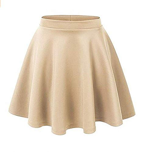 (Afibi Casual Mini Stretch Waist Flared Plain Pleated Skater Skirt (X-Small, Khaki))