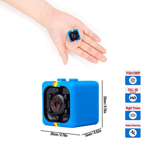 Micro SD Hidden Camera Spy Mini Security-1080P HD Night Vision USB Charger,Motion Sense Detection Activated with Recording Indoor & Outdoor for Home and Office,Portable and Compact-Blue-TEAMYO