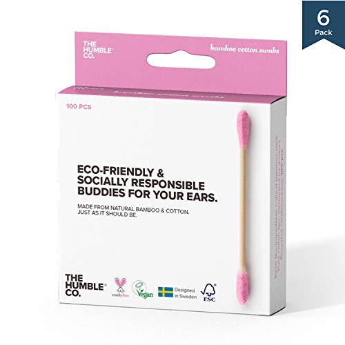 Natural Bamboo Cotton Swabs/Sticks (6pk) - Natural, Organic, Wood, Eco friendly and Sustainable Buds for Ears, Makeup, Pet Care and Cleaning ()
