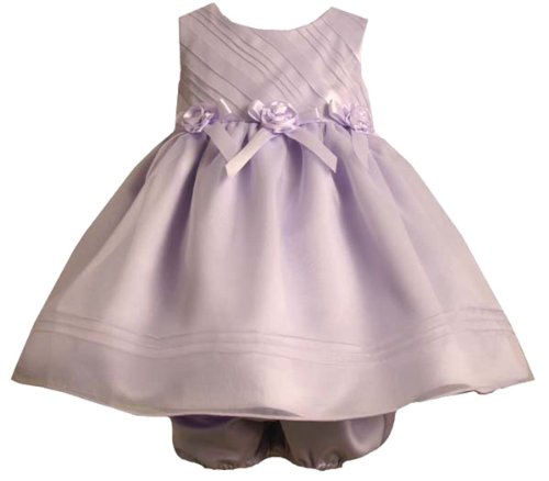 Bonnie Jean Baby Girls Lavender Bias Ribbon Rosette Waist Organza Dress
