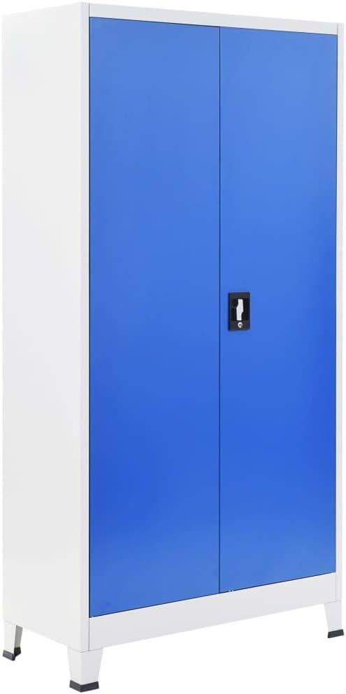 vidaXL Armario Archivador Oficina Metal Estantes Llave Gris Azul 90x40x180 cm