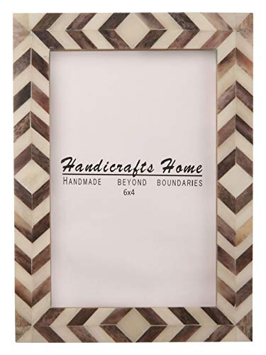 Handicrafts Home Brown White Chevron Picture Frames - Mosaic Moroccan Pattern Bone Inlay Handmade - Premium Quality Pine MDF Wood Back with 2mm Ultra Transparent Acrylic Plexiglass - Hang or Sit 4x6]()