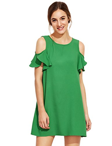 Milumia Women's Summer Cold Shoulder Ruffle Sleeves Shift Dress Green M