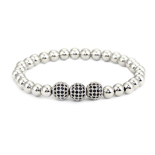 6mm Copper Beads Stretch Bracelet With CZ Crystal Ball Men Women Unisex Jewelry by Pipitree