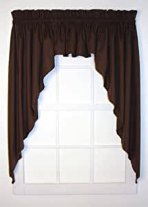 dayita solid color tailored 3 piece swags valance curtains set 120 inch by 63 inch. Black Bedroom Furniture Sets. Home Design Ideas