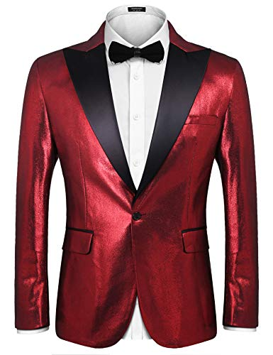 COOFANDY Men's Stylish Classic Dress Suit Solid Red Lapel Blazer Tuxedo Coat,Wine Red,X-Large - Lapel Tuxedo Coat