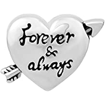 Q&Locket Cupid's Arrow Forever &Always Heart Love Charm Valentine's Day Charms Beads For Bracelets