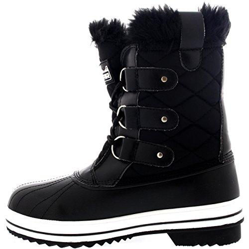 Damen Schnee Stiefel Nylon Short Schnee Pelz Regen Wasserdicht Stiefel Schwarz