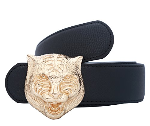 Designer Buckle (Yuangu Men's Big Tiger Buckle 38-mm Italian Leather Belt (120cm/47.3inch (42-44), Black Gold))
