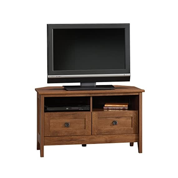 """Sauder August Hill Corner Entertainment Stand, For TV's up to 40"""", Oiled Oak finish - Accommodates up to a 40"""" TV weighing 95 lbs. or less Divided shelving holds audio/video equipment Hidden storage behind simulated drawer fronts/doors - tv-stands, living-room-furniture, living-room - 41bblzSHKoL. SS570  -"""