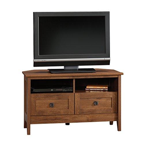 Sauder Hill Corner Entertainment TV's up Oiled Oak