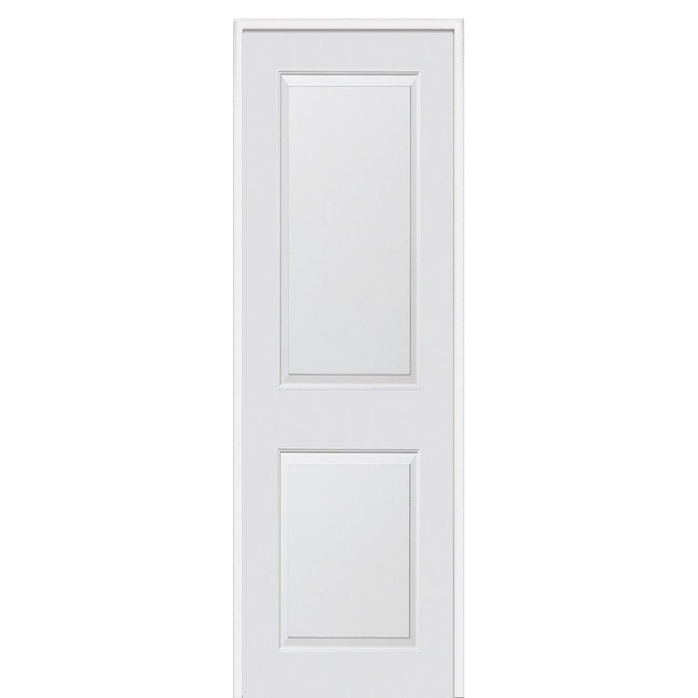 National Door Company ZZ364280R Solid Core Molded 2-Panel Prehung Interior Door Primed 24x80 Right Hand