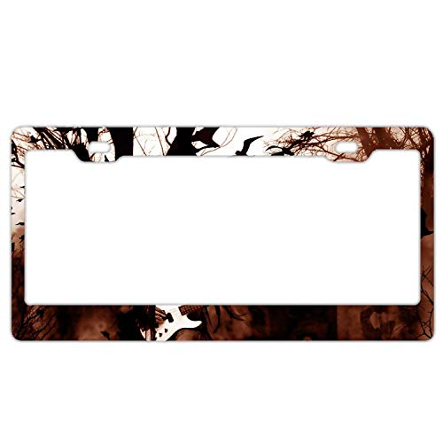 ASLGlicenseplateframeFG Holiday Halloween Black Metal Heavy Guitar Creepy Spooky Graveyard Cemetery License Plate Frame Alumina Car Licence Plate Covers Slim Design for US Standard -