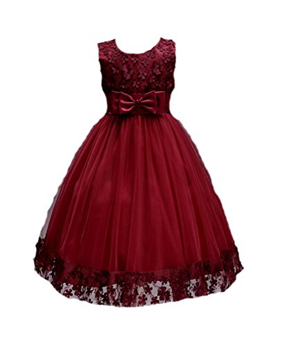 Price comparison product image Horcute Girls Sleeveless Lace Flower Girls Dresses Wine Red 2T