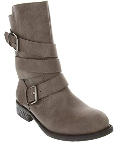 Sugar Women's Irma Dress Multi Strap Motorcycle Low Heel Mid Calf Boot Ladies Pull On Moto Grey Smooth 9