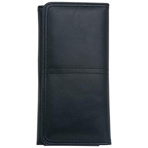 Ladies Solid Leather Wallet RFID Blocking ID Window Card Photo Holder,Slim,Black