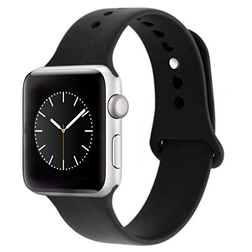 Price comparison product image iDon Smart Watch Sport Band, Soft Silicone Replacement Sports Band for iWatch Apple Watch Band Series 1 Series 2, 38mm Apple Watch 2015 & 2016 All Models (S/M, Black)