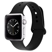iDon Smart Watch Sport Band, Soft Silicone Replacement Sports Band for iWatch Apple Watch Band Series 1 Series 2, 38mm Apple Watch 2015 & 2016 All Models (S/M, Black)