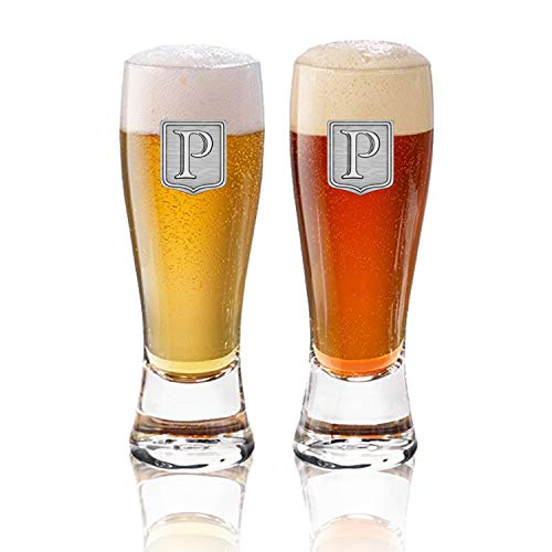 (Artisan Handmade Pewter Crest Premium Shield & Monogram Initial Mini Pilsner Taster Glass Pair (2pk) (5oz), Hand Crafted by Fine Occasion - Letter P)