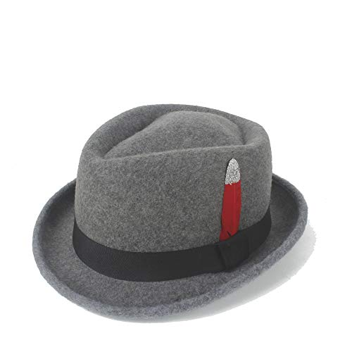 YUXUJ Beautiful Jazz Hat Felt Wool Red Silver Feather Male Jazz Wool Cap Classic Retro Church Soft Felt Hat Retro Shallow Fedora Top Hat (Color : Navy Gray, Size : 56-58CM)