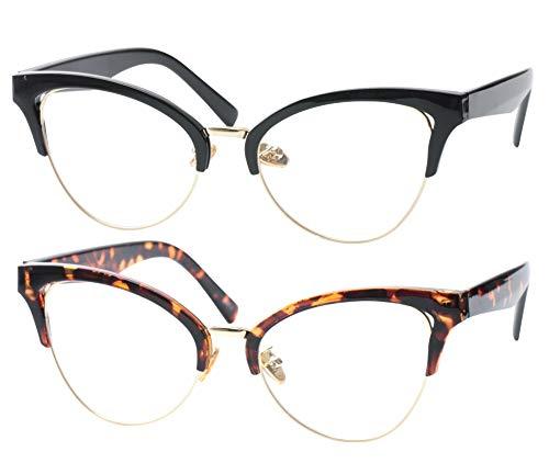(SOOLALA Womens Large Half Frame Cat Eye Reading Glass Unique Eyeglass Frame, BkLeo, 0.5)