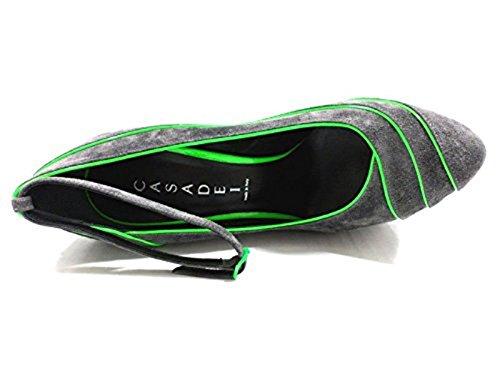 Zapatos Mujer CASADEI 38 EU Zapatos de Salón Cuña Gris Verde Gamuza AZ377