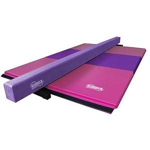 Nimble Sports Purple Suede Balance Beam with Pink and Purple Folding Gymnastics Mat