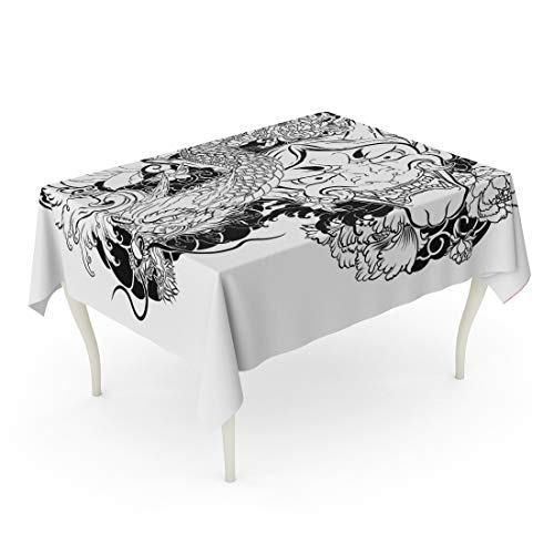 Tarolo Rectangle Tablecloth 60 x 90 Inch Ancient Japanese Demon Mask Lotus Chrysanthemum Peony and Cherry Flower Tattoo Traditional Dragon Oni Outline Doodle Asian Table ()