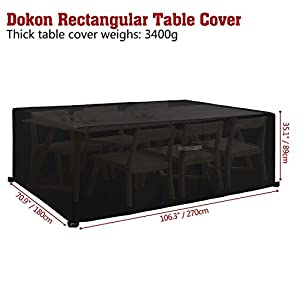 Dokon Garden Furniture Cover with Air Vent, Waterproof, Windproof, Anti-UV, Heavy Duty Rip Proof 600D Oxford Fabric Large Patio Set Cover, Garden Table Cover, Rectangular (270 x 180 x 89cm) – Black