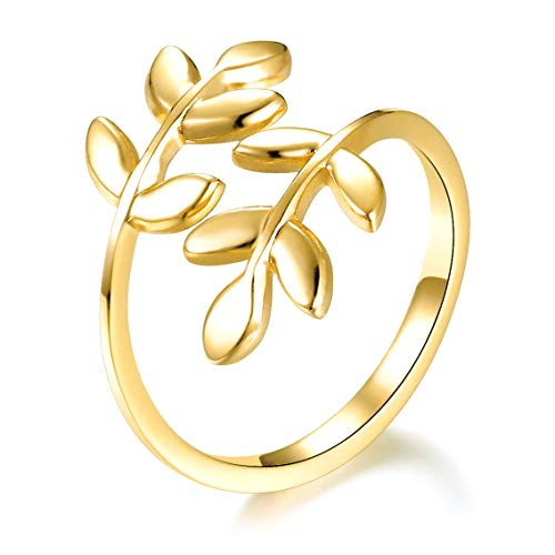 (ELBLUVF 18k Stainless Steel Gold Plated Leaves Leaf Laurel Adjustable Branch Ring Jewelry)