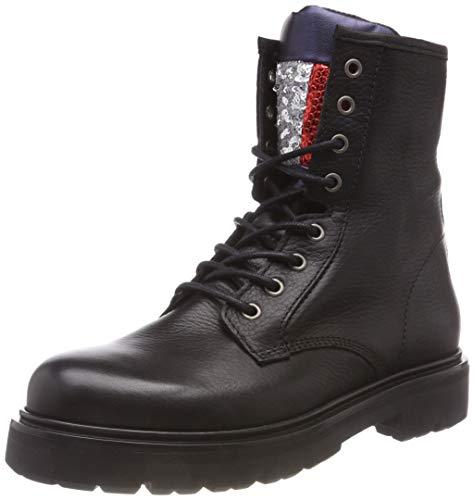 Tommy Black black Lace Boot Sparkle Flag Up Women's 990 Combat Big Jeans fxT6fr1