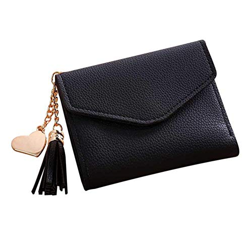 QLTYPRI Women Short Wallet Ladies Simple Billfold Girl's Card Holder Purse Small Clutch ID Window Coin Cash Pocket Cute Tassel Loving Heart Metal Pendant Design Minimalist Button Closure Bag - Black ()