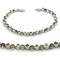 Sterling Silver Multi-Color Natural Gemstone Bracelet from Unique Pearl
